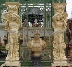 西部様式の手によって切り分けられる大理石の彫刻のコラムの屋外の庭装飾的な切り分けられた石造り図彫像の柱(QCM259)