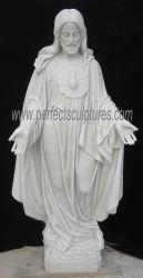 Sculpture religieuse en marbre blanc de la taille de la vie de Jésus Christ statue pour l'Église (sy-X1285)