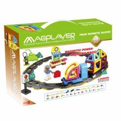 68部分プラスチック磁気トラックトレインのブロックのおもちゃ