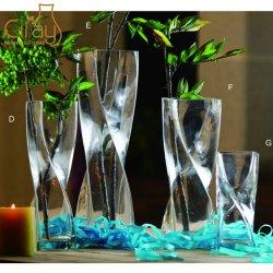 Handgemaakte Twisted Cube Glass Vases H30cm diverse maten