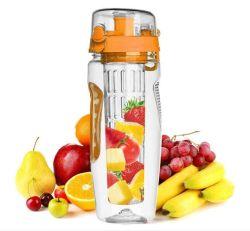 Il commercio all'ingrosso su ordine 1L BPA libera la bottiglia di acqua di plastica di Infuser del tè della frutta della bottiglia di acqua di ginnastica di Tritan