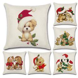 새로운 베스트셀러 크리스마스 연약한 채워진 견면 벨벳 고양이와 개 시리즈 손으로 그리는 리넨 베개 덮개 장난감 45*45cm