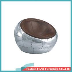 Design elegante tampa de alumínio da Bola fezes cadeira de couro Cadeira de Lazer