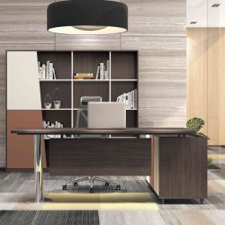 L forma moderna de madeira e metal Secretária Executiva da Mesa de escritório