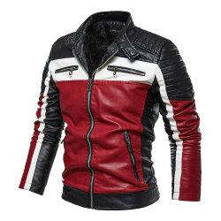 高品質の屋外の衣類の人のオートバイPUののどの革のジャケットは習慣に塗る