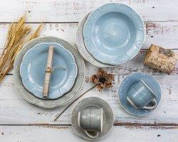 مجموعة عشاء من السيراميك مطلية يدويًا ومطلية يدويًا