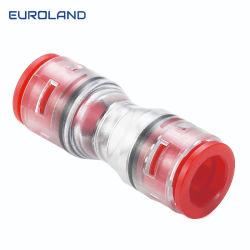 Cuerpo transparente de plástico conector recto Microduct Encaje a presión de 5mm