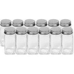 Praça francesa Spice garrafas de vidro 4 Oz jarros de especiarias com topos de peneira metálica prateada