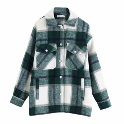 Shangyan Womens Fashion Casual Loose Woolen Plaid Coat