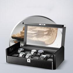 주문 로고 나무로 되는 손으로 만들어진 서랍 시계 전시 상자