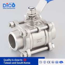 Dico marca ISO de acero inoxidable 3PC Válvula de bola de soldadura de fundición Industrial