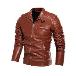 Elégant design fashion robe veste de cuir moto décontracté de style vestes pour hommes noir manteau chaud