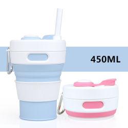 실리콘 접이식 커피 컵, 뚜껑이 있는 재사용 가능한 휴대용 접이식 트래블 컵
