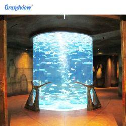 Alta do cilindro em acrílico transparente de grande espessura do tanque de peixes de aquário