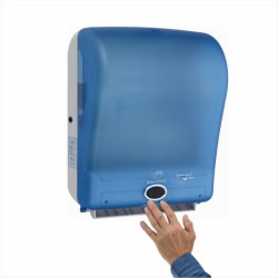 Manos libres movimiento Wall-Mounted rollo automático dispensador de toalla de papel, blanco/azul