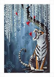 Animal lindo pinturas al óleo de Tigre el arte de pared Arte Ol-200605 Lienzo tamaño 18 x 24 pulg.