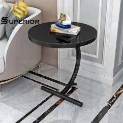 Negro de estilo americano sofá mesa lateral con tapa de cristal