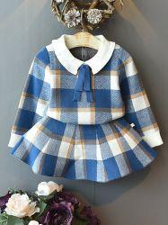 Meninas de moda para bebês (colar de roupas de Bebé Plaid roupas com saia suéter