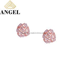 方法注文の宝石類ローズ Earring セットは CZ 925 のスターリングと シルバースタッドイヤリング