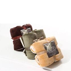 Coperta su ordinazione portatile della manovella del panno morbido della flanella di Sherpa di marchio di nuovo disegno