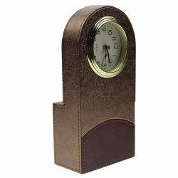 La piccola Ue dell'hotel su ordinazione di marchio designa l'orologio di cuoio dello scrittorio dell'oggetto d'antiquariato della tavola rotonda dell'ufficio del Faux