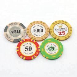 Kundenspezifische Lehm-Schürhaken-Chip-keramische Schürhaken-Chip-Kasino-Spiel-Großhandelschips für das Spielen