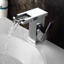 Flg Cambiar grifo cascada de luz LED grifo de la cuenca del cuarto de baño