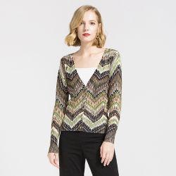 Lavori o indumenti a maglia di stampa delle 2019 nuovi signore, commercio all'ingrosso del maglione del cardigan del collo di V