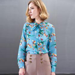 여름 동안 새로운 형식 숙녀 실크 블라우스, 파란 인쇄 셔츠 및 봄