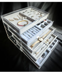 Acryl Sieraden Display Box met 5 laden en fluwelen trays