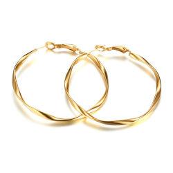 Mesdames en acier inoxydable de gros fil d'or Hoop Earrings Design