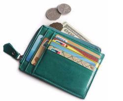 Verdadera piel Monedero inteligente de tarjeta de crédito con el titular de la ranura de moneda
