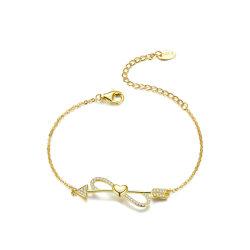 Новые модные любви на строку сердца и до бесконечности цепь 925 стерлингов серебряный браслет