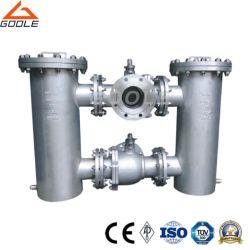 Drieweg-kogelkraan met flens, duplex-bak/basket-strainer (GB41H)
