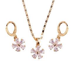 方法結婚式の合金の銀の金は水晶CZの真珠とセットされたリングのネックレスのイヤリングの宝石類をめっきした