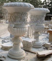 Hand geschnitzter kundenspezifische Größen-natürlicher Steinmarmorblumen-Pflanzer für im Freiengarten-Dekoration (QFP336)