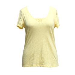 La mujer Slub Jersey la parte superior, encaje Camiseta con cuello en V, Blusa de manga corta prendas de tejido blando