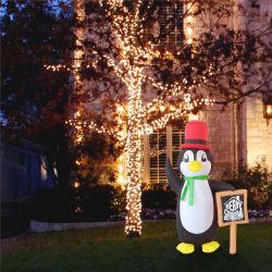 Pinguim inflável com placa de sinal de Feliz Natal 6FT