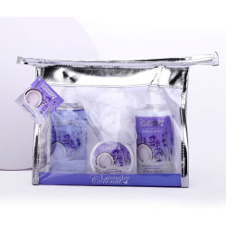 Relaxing Lavender SPA Travel Bag Set Bath Gift for Women-Girls, inclusief douchegel, shampoo, Body Lotion, Bath Puff