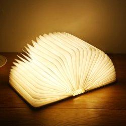 مصباح LED للطاولة ليلاً ثلاثي الأبعاد بتقنية LED Book قابلة للطي مغناطيسي قابلة لإعادة الشحن عبر منفذ USB خشبي