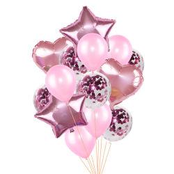 14pcs/Conjunto de 18 pulgadas de corazón de la lámina de estrella de 12 pulgadas de globos globos de látex Confetti Cumpleaños Fiesta de Bodas Decoración Globos suministros Accesorios