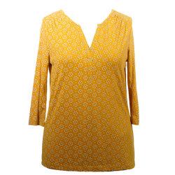 Spring V首Topの短いブラウス、方法印刷のワイシャツ、ジャージーの衣類女性