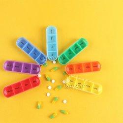 丸薬オルガナイザーの虹の週間7日旅行丸薬箱のピアノキースイッチ薬のホールダーのプラスチック丸薬ボックス