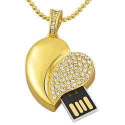 Золотые ювелирные изделия в форме сердца цепочка USB Memory Stick™ для проведения свадебных подарков