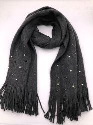 Frauen-Perlen-Troddel fest und Abnützung-warmer gestrickter Schal