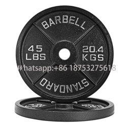 Gimnasio de calidad Home Barbell Fitness negro paragolpes de hierro fundido con el precio de fábrica de las placas de levantamiento de pesas