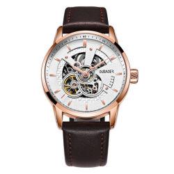 Het hoogste Horloge van de Vatting van het Roestvrij staal van de Riem van het Leer van de Horloges van de Mensen van de Luxe van de Handen van het Ontwerp van de Manier van het Merk Automatische Mechanische