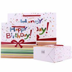 Billig Happy Birthday Papiertasche Großhandel Custom Printing Logo mit Griff