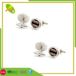Großverkauf kundenspezifischer Diamant-Metallsilber-Manschettenknopf (005)
