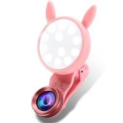 3 en 1 Teléfono celular con lente de 24 LED de luz de relleno Selfie Anillo de luz de la cámara USB Clip recargable